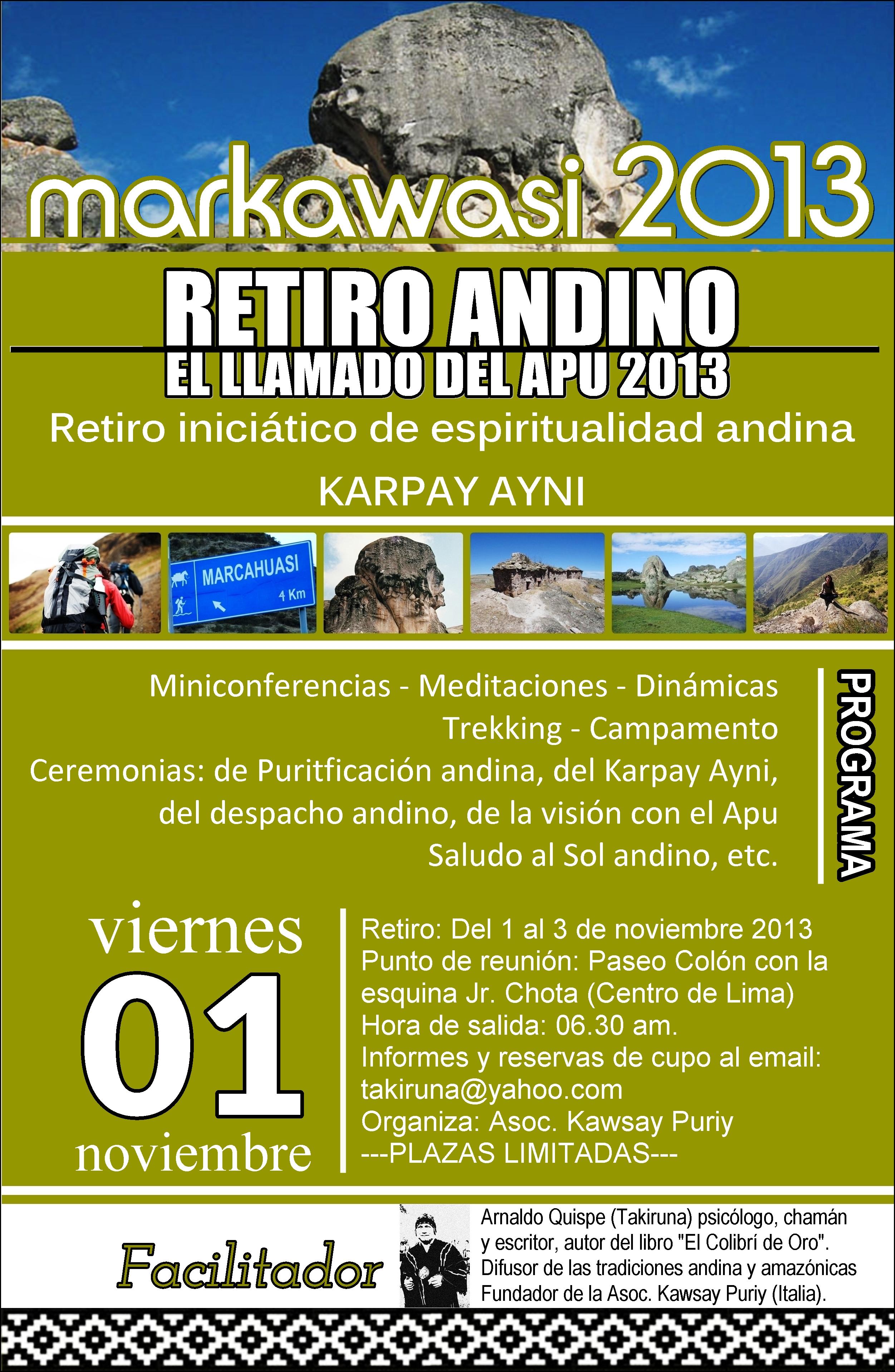 Afiche Disponible Del Retiro Andino 1 3 Nov Takiruna