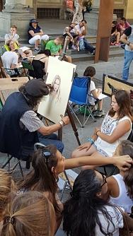Retratistas en Piazza dei Uffizi